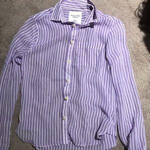 Button up American eagle purple stripes